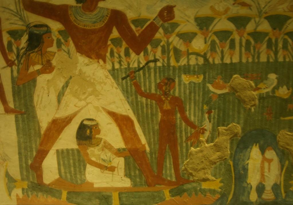 Veggmaleri fra gravkammer. Kvinnene fremstår som passive.