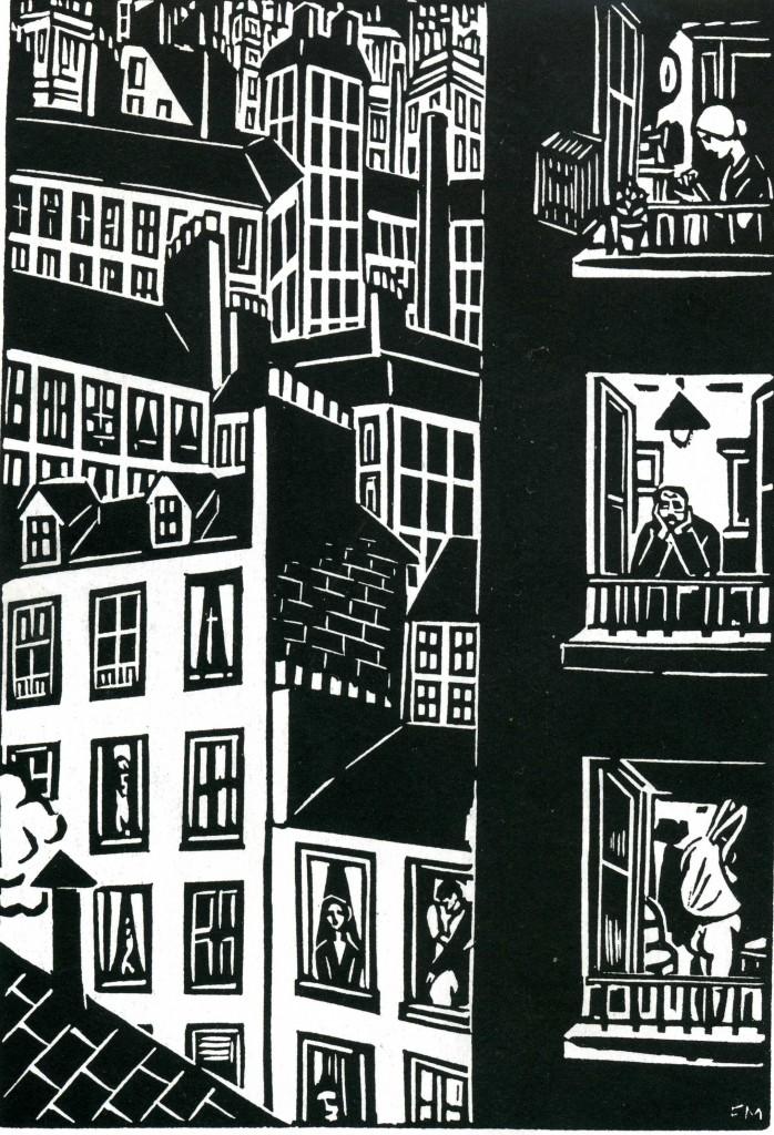 """Trykk fra Frans Masereels bilderoman """"Le Ville"""" (1925)"""