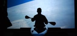 """Jette Gejl, """"Hyperkinetic kayak"""", 2009, fra åpningen av utstillingen """"RETHINK Contemporary Art and Climate Change"""" på Stavanger Kunstmuseum."""