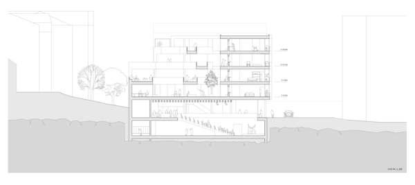 Dramahallen, fellesrommene i midten av bygningen og boligene ut mot Niels Juels Gate