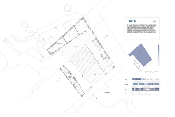 Plan 0. Gjennomgang fra Niels Juels Gate til skolegården. Inngang til dramahall for skolens dans-og dramalinje