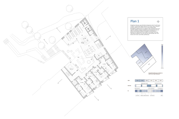 Plan, 1.boligetasje. Kafeteria og uteområde med direkte forbindelse til skolegården