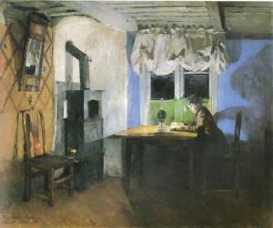 """Harriet Backer, """"Ved lampelys"""", 1890"""