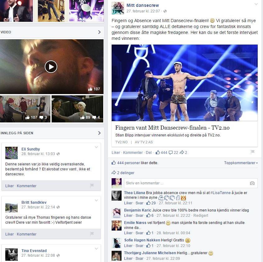 """Finalen i TV2s """"Mitt dansecrew"""" er over, og på Facebook diskuteres det hvorvidt vinneren er verdig. Velkommen inn i deltakerkulturen! (Skjermdump fra Facebook)"""
