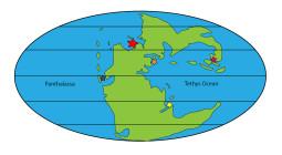 Pangea slik det så ut for 250 millioner år siden. Stjernene markerer andre fossilfunn av samme alder.