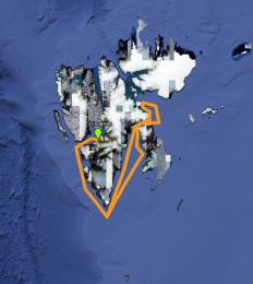 Kart som viser reiseruten vår.
