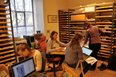 masterstudenter ranskaer hyllene på museumet
