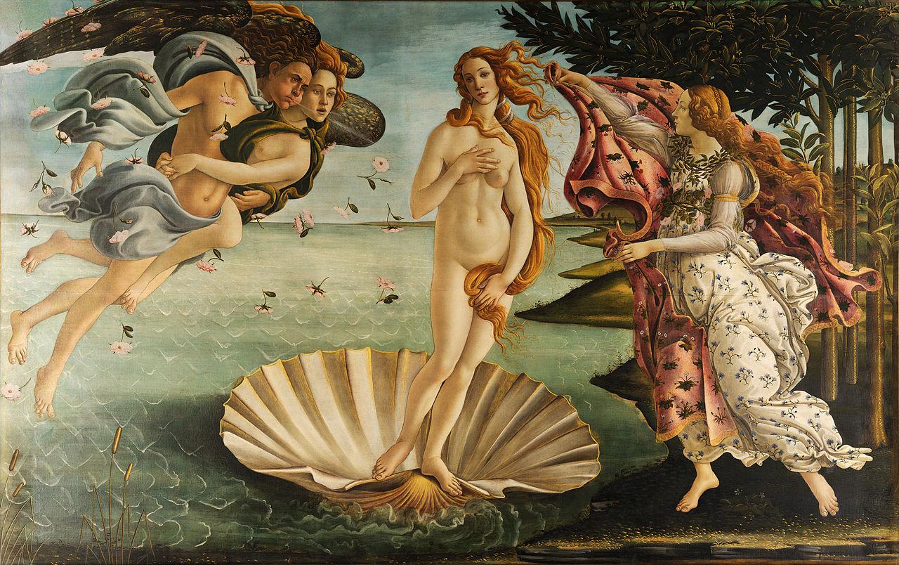 Maleri av Sandro Botticelli som viser Venus som stiger opp av havet.